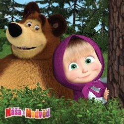 Masha and the Bear In Forest poduszka cover