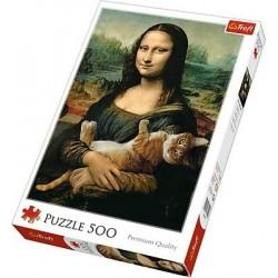 Puzzle 500 elementów Mona Lisa i kot Mruczek