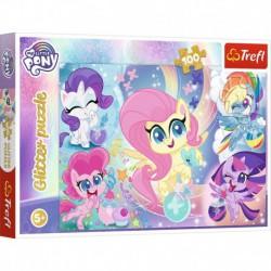 Puzzle 100 elementów Glitter Błyszczące kucyki Pony